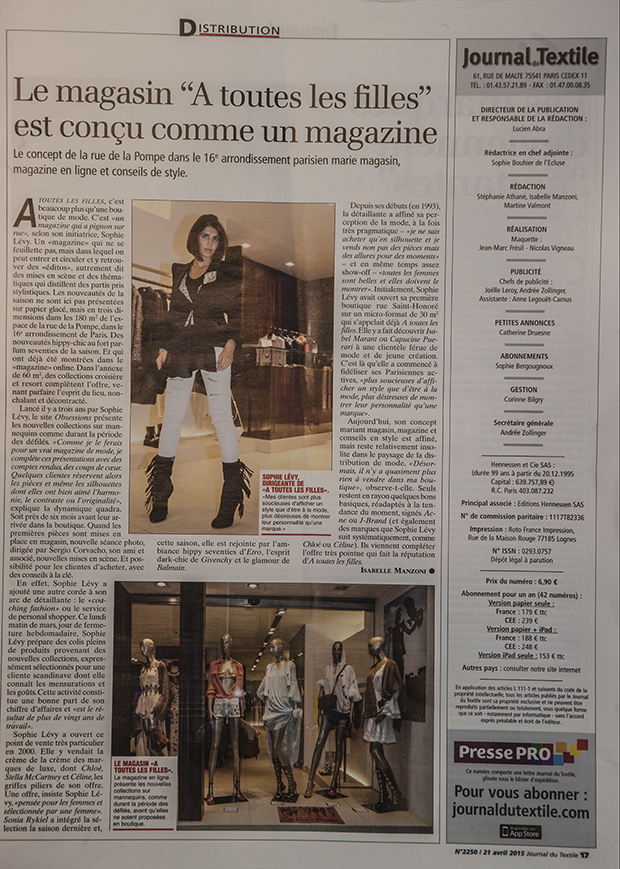 ATLF PARIS makes it on a full blown article for the prestigious magazine JOURNAL DU TEXTILE , where Sophie Levy and Sergio Corvacho talk about the magic of the mythic 75016 store.